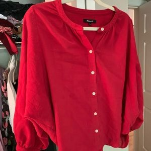 Red button down loose top